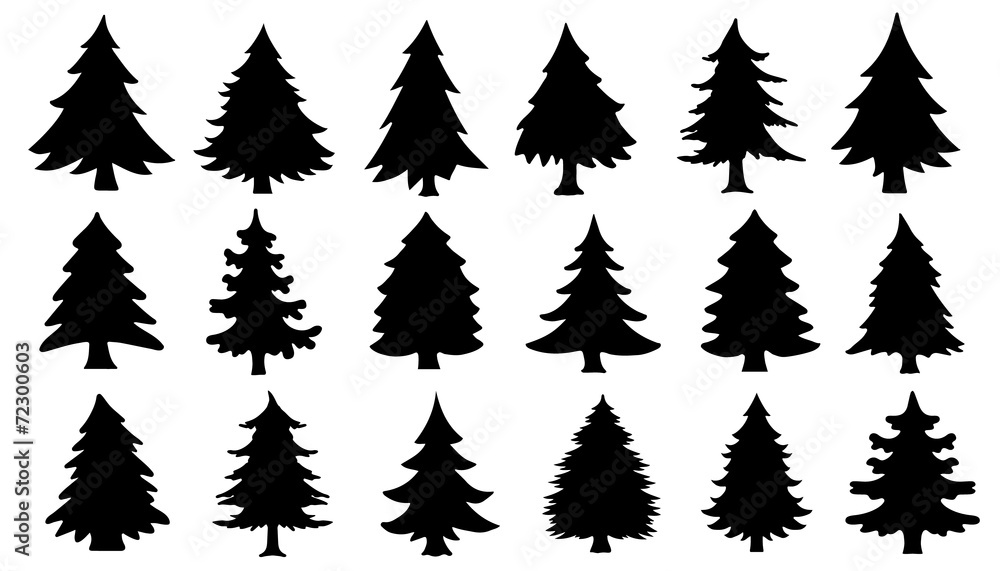 Fototapety, obrazy: chritmas tree silhouettes