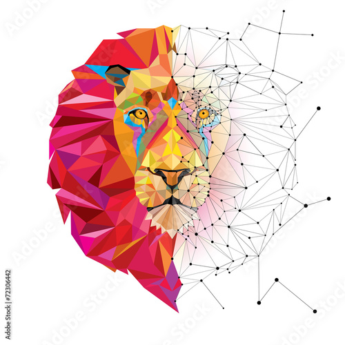 Lion head in geometric pattern with star line vector Poster