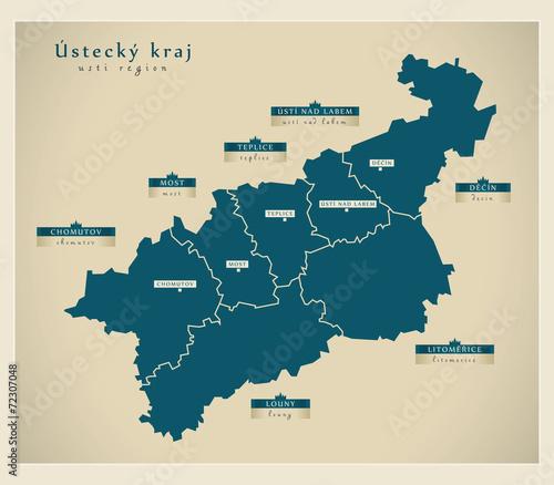 Modern Map - Ustecky kraj CZ - fototapety na wymiar