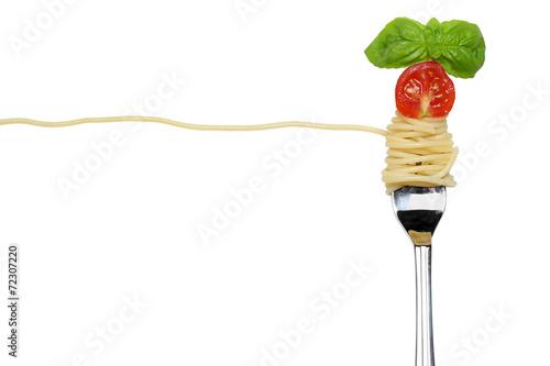 Fotografie, Obraz  Spaghetti Nudeln Pasta Gericht auf einer Gabel freigestellt