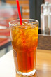 Lemon tea with ice in a glass