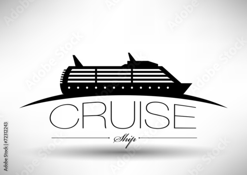 Fotografia Cruise Ship Icon with Typographic Design