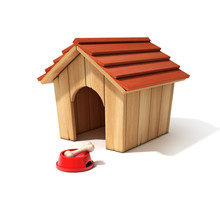 Dog House, Bowl And Bone 3d Illustration