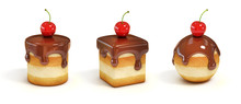 Mini Cakes In Various Forms With Chocolate Topping And Cherry
