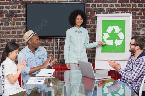 Fotografie, Obraz  Team in meeting with recycling symbol on whiteboard