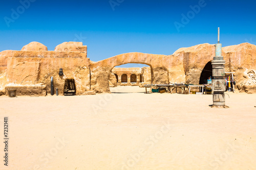 Set for the Star Wars movie still stands in the Tunisian desert