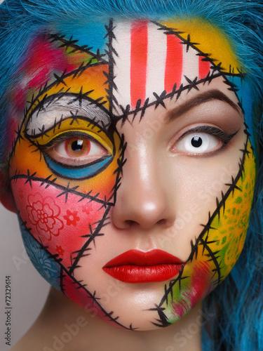 Obraz w ramie Close up color women face art