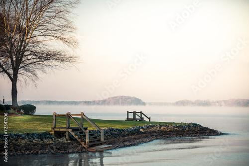 Photo Foggy Lake Norman Sunrise