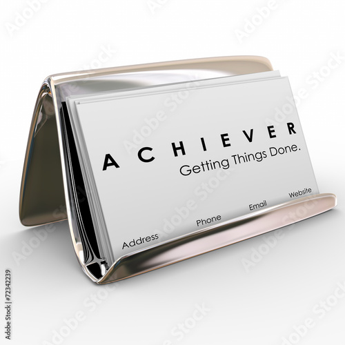 Achiever Getting Things Done Business Card Holder Canvas Print
