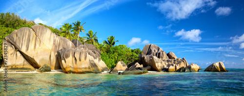 Fotografie, Obraz  Anse Source d'Argent beach panorama, La Digue, Seyshelles