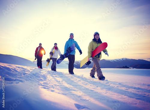 Papiers peints Glisse hiver People Snowboard Winter Sport Friendship