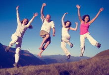 Group Of People Jumping Happin...