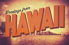 Retro Greetings From Hawaii Po...