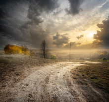 Fog Over Country Road