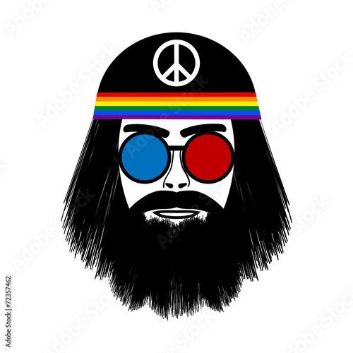 Photo  Hippie face icon