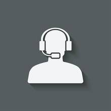 Man Call Center Support Symbol