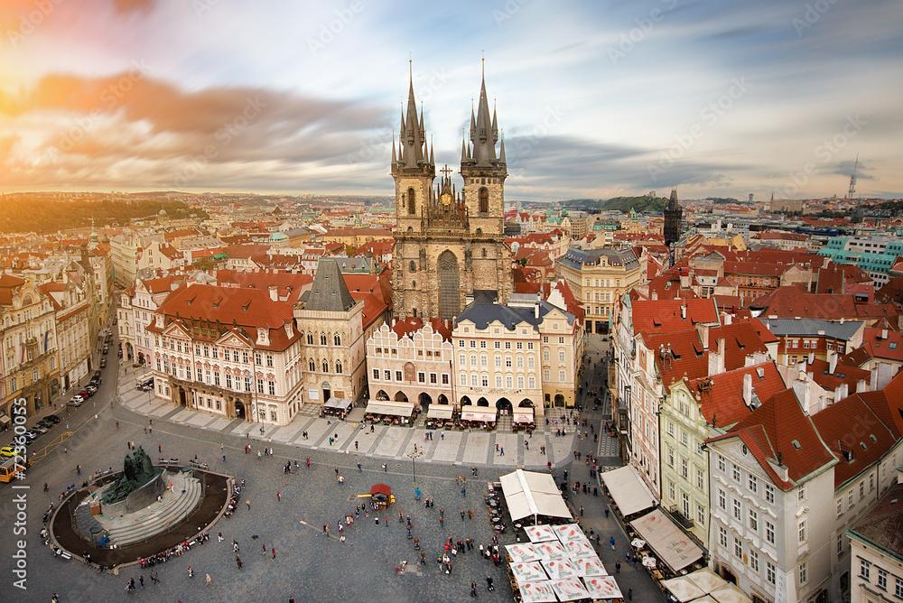 Obraz Widok na rynek starego miasta Praga,Czechy. fototapeta, plakat