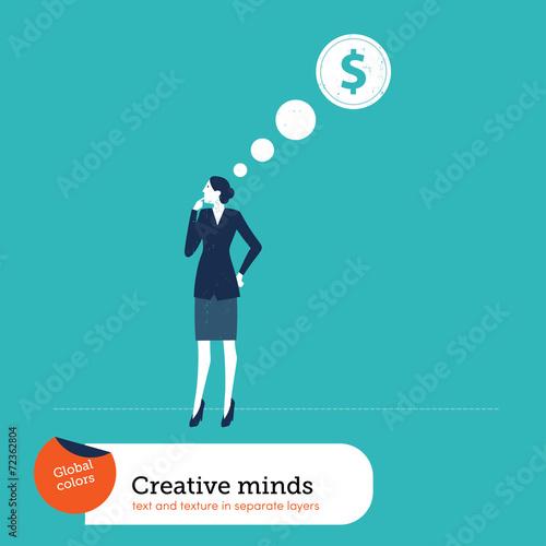Photo Businesswomen thinking about money