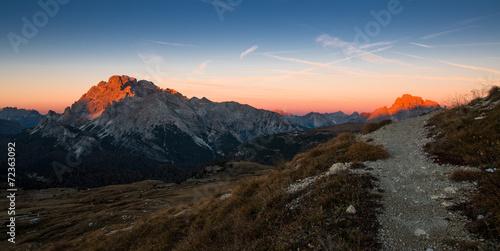 Printed kitchen splashbacks Cappuccino Morning Path in Mountains