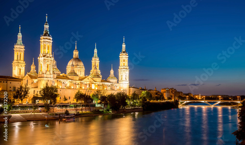 Great evening view of the Pilar Cathedral in Zaragoza, Spain