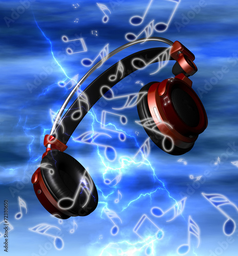 Photo  Realistic headphones with music notes