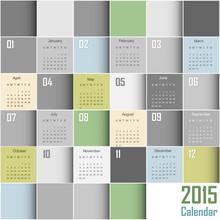 Abstract Squares Calendar 2015 - Week Start At Sunday