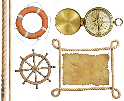 Deurstickers Retro nautical objects rope, treasure map, lifebuoy, compass isolated