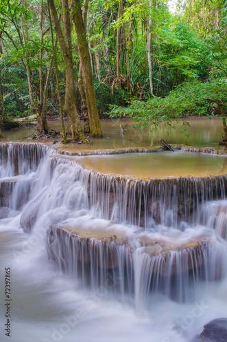 Wall Murals Waterfalls Waterfall in deep rain forest jungle (Huay Mae Kamin Waterfall i