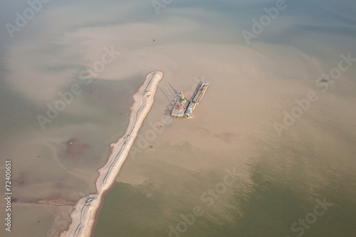 Fotografia, Obraz  sand dredger on barge on Nysa lake in poland