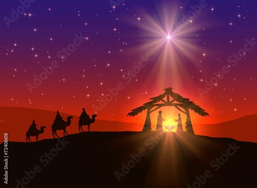 Fotografie, Obraz  Christian Christmas background with star