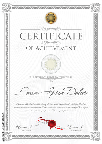 Photo  Gray certificate template