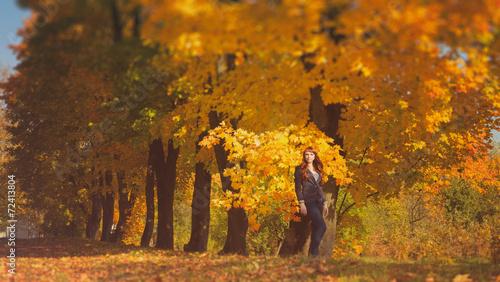 Fototapeta beautiful woman with red hair in autumn park obraz na płótnie