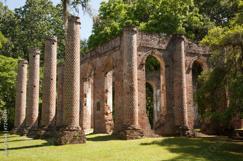 Fotografie, Obraz  Old Church Ruins, from South Carolina