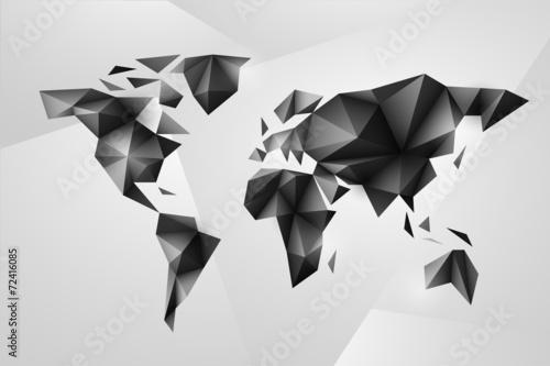 Staande foto Wereldkaart World map background in origami style.