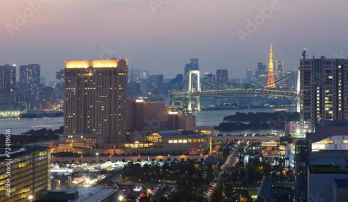 Poster Chicago View of Tokyo bay area with rainbow bridge and Tokyo Tower