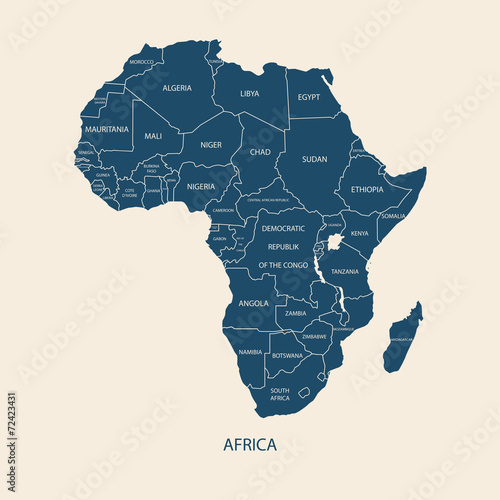 Fotografie, Obraz AFRICA MAP WITH NAME OF THE COUNTRIES