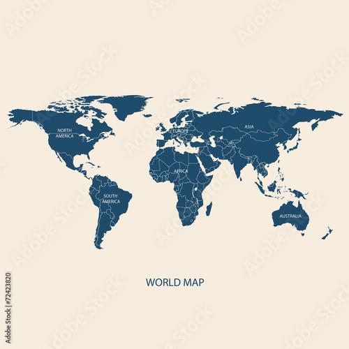 In de dag Wereldkaart WORLD MAP with borders
