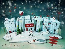 Festive Illustration Of Snowy Winter Letters