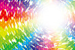 背景素材壁紙(ラフな虹色放射とクロス,光キラキラ星,キラ星,星の模様,放射状,星,星模様,虹,虹色,レインボー,七色)