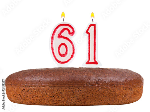 Fotografia  birthday cake candles number 61 isolated