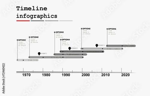 Valokuva  Monochrome Timeline Infographic , flat design style