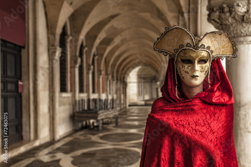 Fotografia, Obraz Woman with a red robe wearing a mysterious mask at Famous Venetian Festival