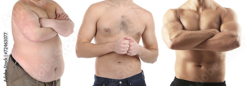 Fotografía  Health and fitness concept.Three stage weight loss by man.