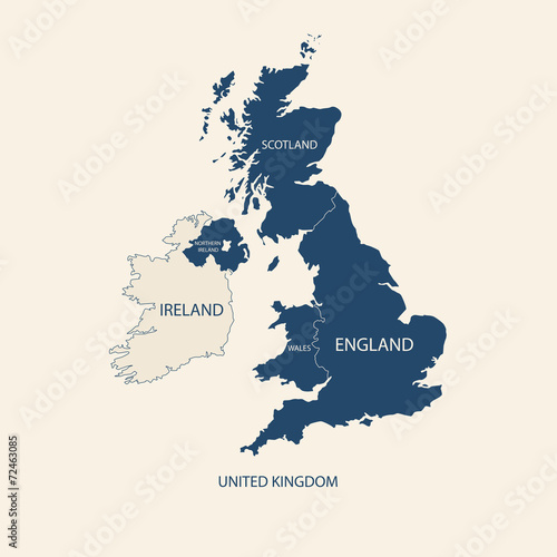 UNITED KINGDOM MAP, UK MAP with borders Canvas Print