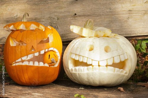Foto op Plexiglas Landschappen Halloween Kürbismonster Schreck und Angst