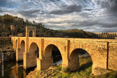 Roman bridge of Alcantara, sunny side Canvas Print