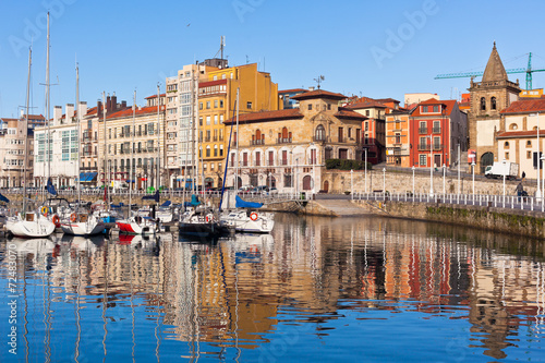 Photo View on Old Port of Gijon and Yachts, Asturias, Northern Spain