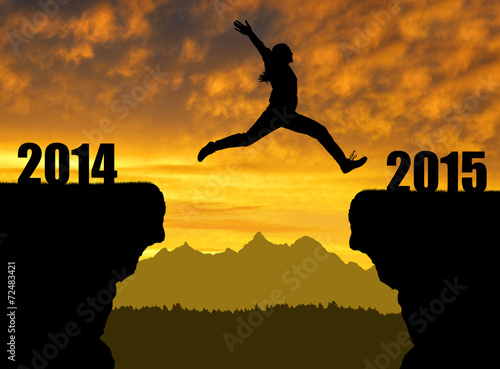 Fotografia  Girl jumps to the New Year 2015
