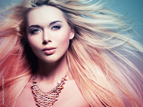 beautiful  woman with long white  hair in tinting colorize style - 72484870