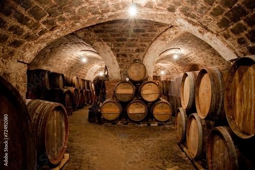 Barrels in a hungarian wine cellar Canvas Print